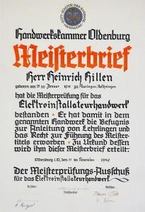 Meisterbrief Heinrich Hillen