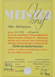 Meisterbrief Mike Mellinghaus