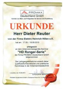 Promax Zertifikat Dieter Reuter