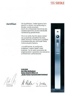 Zertifikat Siedle Mike Mellinghaus