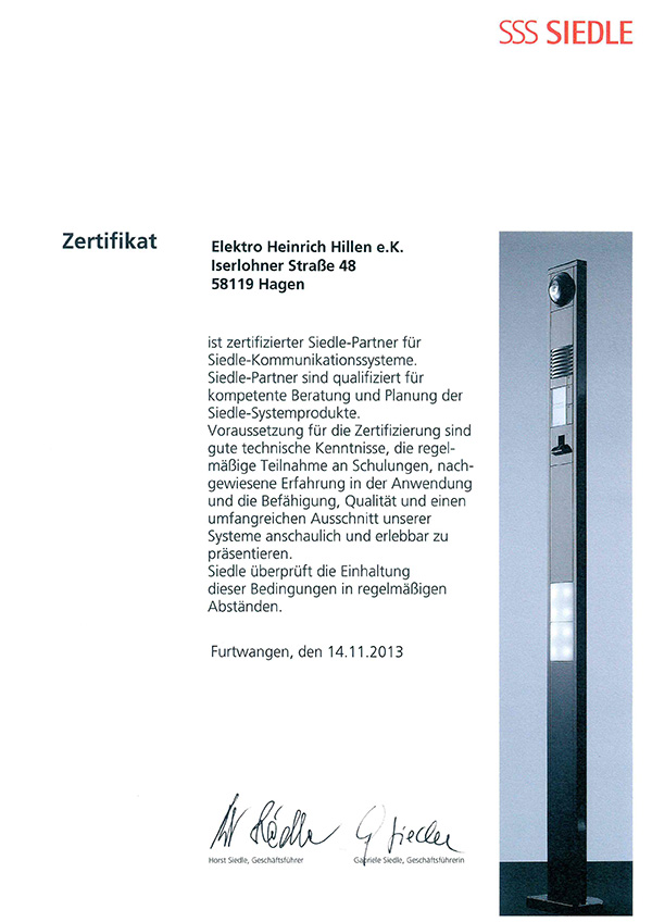Unsere Zertifikate - Elektro Heinrich Hillen eK